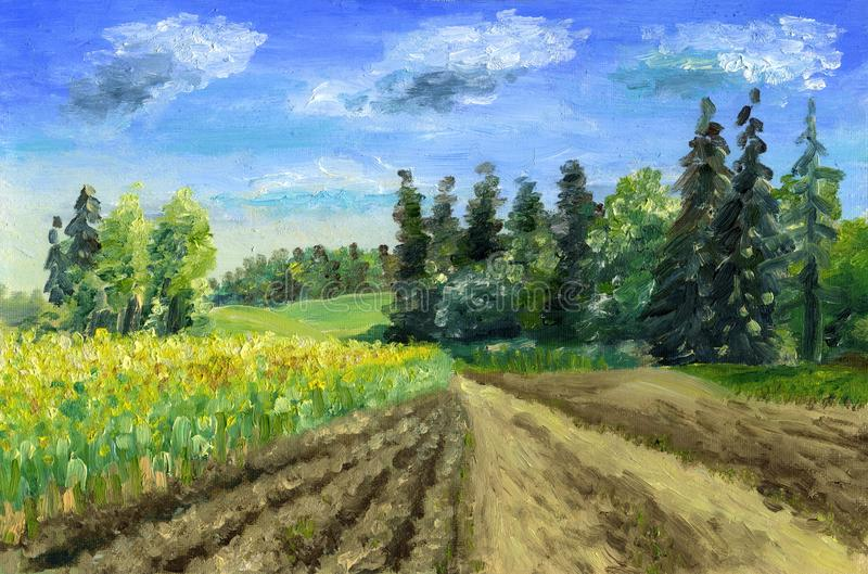 Blossoming spring field. Oil painting onn canvas. Coniferous forest, fresh arable land and field road leaving into the distance. Sunny day, blue sky with light stock images