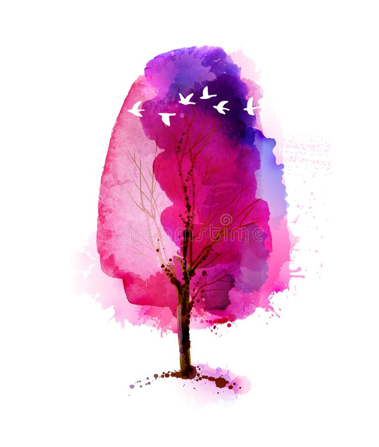 Blossoming Spring watercolor pink tree and flock of white flying birds. vector illustration