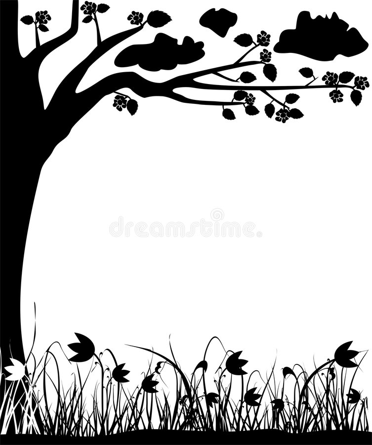 Free Blossoming Tree And Tulips, Spring, Frame, Vector Stock Photos - 457073