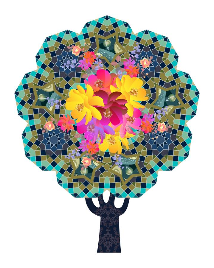A blossoming Tree of Life with an ornamental trunk and a crown in the form of a universe. Sacred geometry. Bright multicolor illustration stock illustration