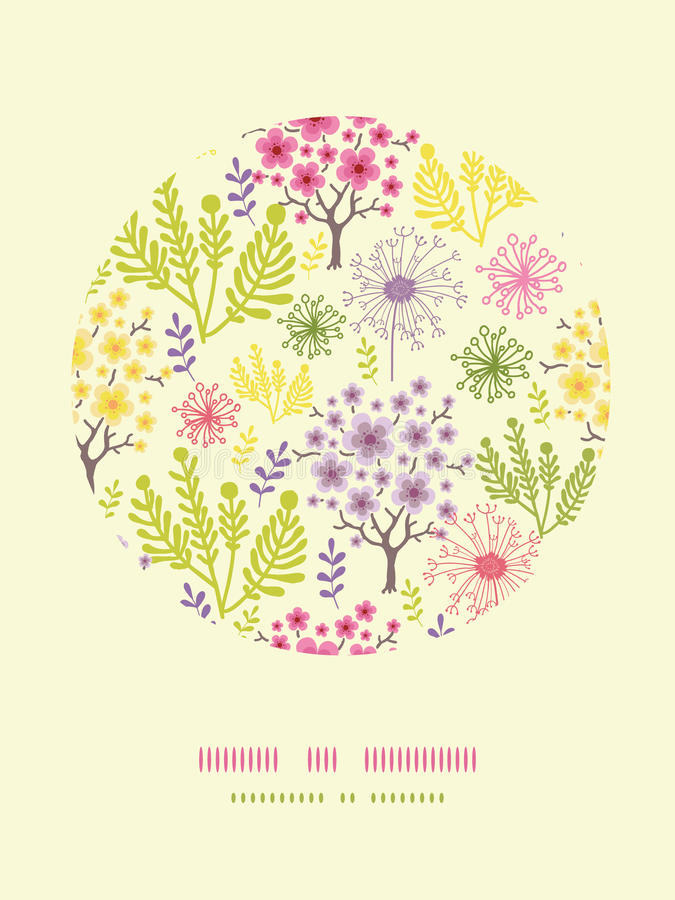 Blossoming Trees Circle Decor Pattern Background Royalty Free Stock Images