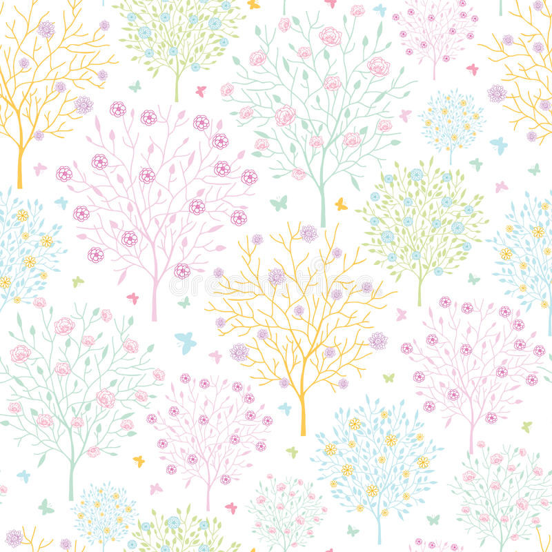 Blossoming Trees Seamless Pattern Background Royalty Free Stock Images