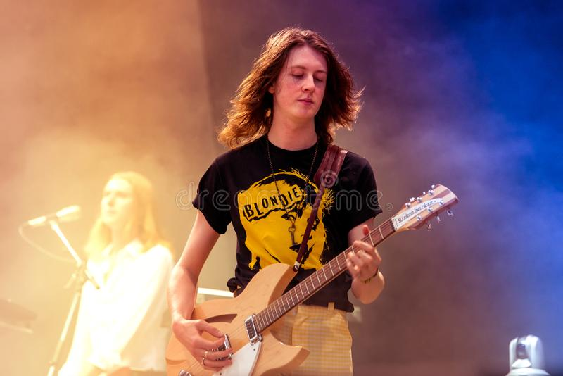 Blossoms indie music band perform in concert at FIB Festival. BENICASSIM, SPAIN - JUL 14: Blossoms indie music band perform in concert at FIB Festival on July 14 royalty free stock photography