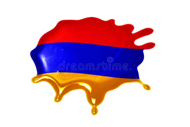 Blot with national flag of armenia. On the white background royalty free stock photography