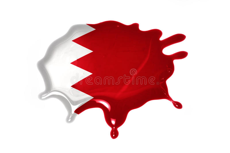 Blot with national flag of bahrain. On the white background royalty free stock photo