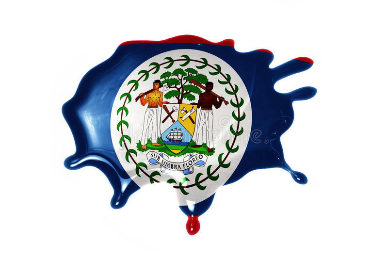 Blot with national flag of belize. On the white background stock photos