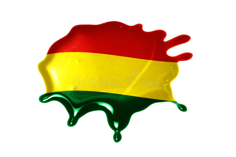 Blot with national flag of bolivia. On the white background royalty free stock photo