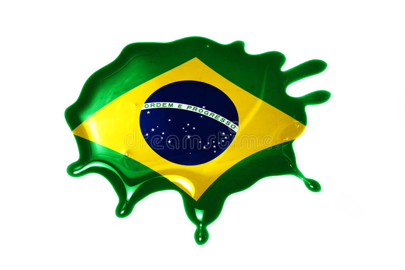 Blot with national flag of brazil. On the white background stock images