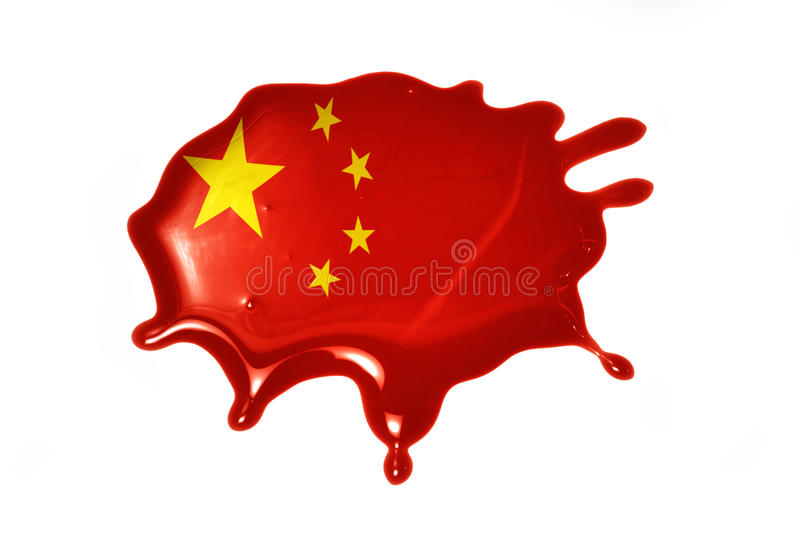 Blot with national flag of china. On the white background royalty free stock photo