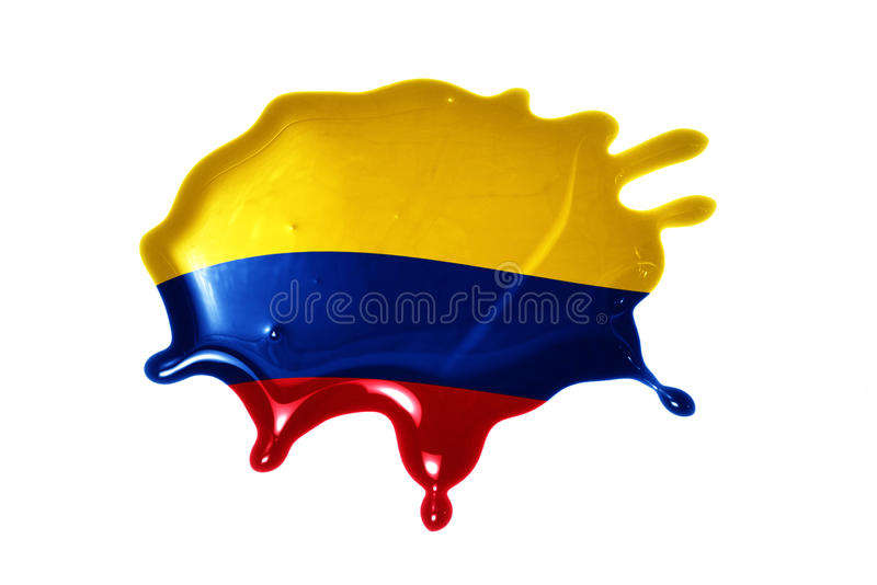 Blot with national flag of colombia. On the white background stock image