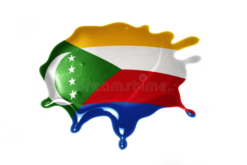 Blot with national flag of comoros. On the white background stock photos