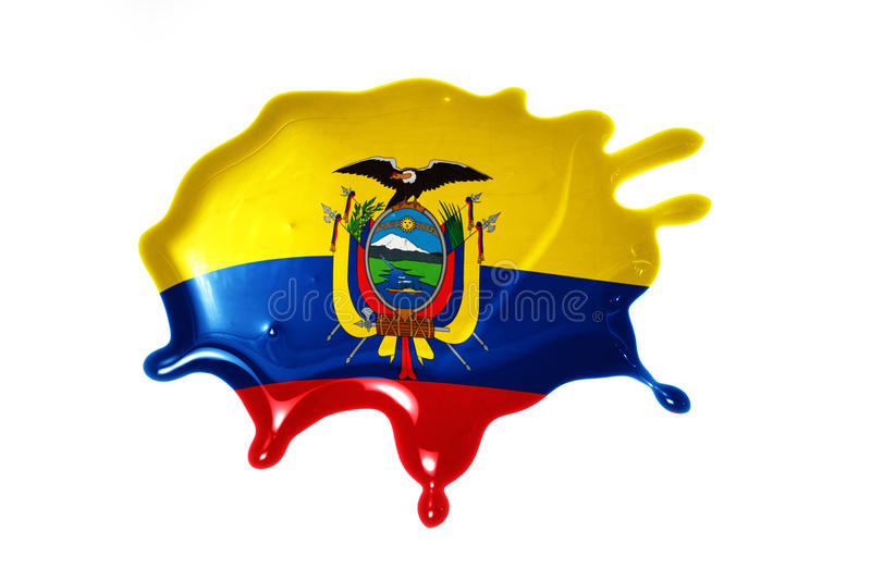 Blot with national flag of ecuador. On the white background royalty free stock image