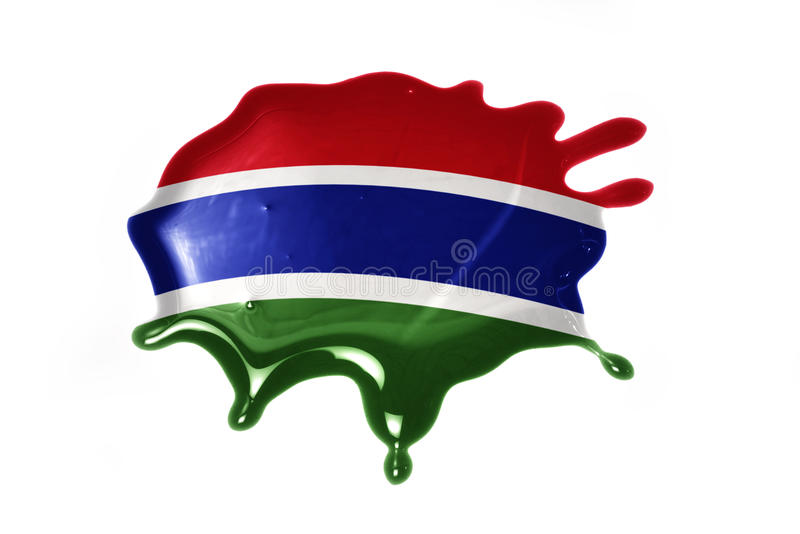 Blot with national flag of gambia. On the white background royalty free stock photos