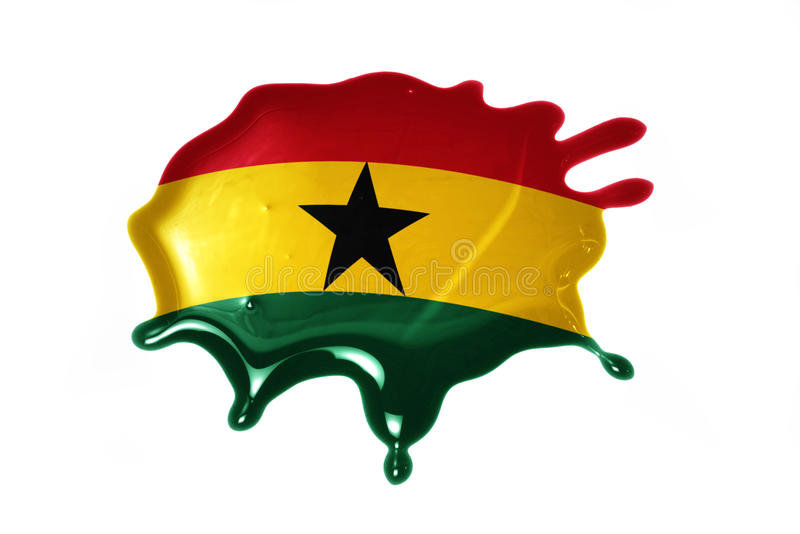 Blot with national flag of ghana. On the white background stock photos