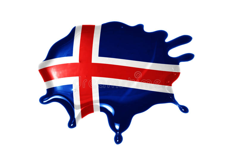Blot with national flag of iceland. On the white background royalty free stock photos