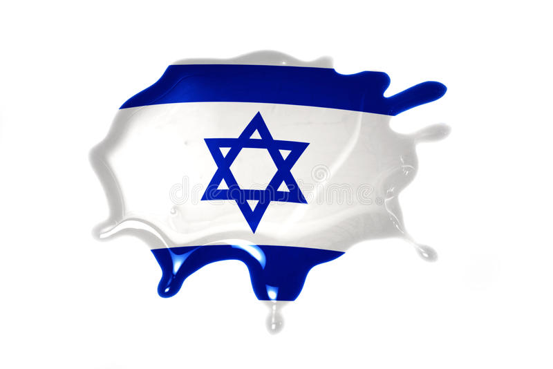 Blot with national flag of israel. On the white background royalty free stock photo