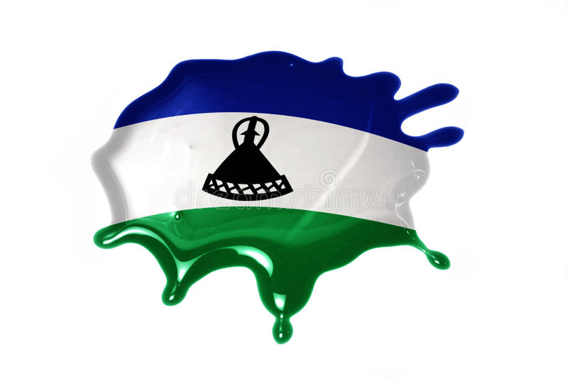 Blot with national flag of lesotho. On the white background royalty free stock photo