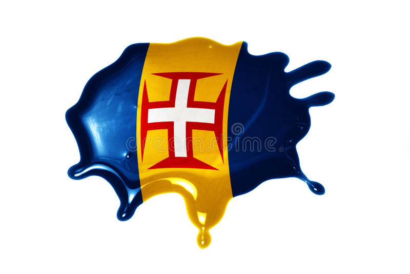 Blot with national flag of madeira. On the white background royalty free stock photos
