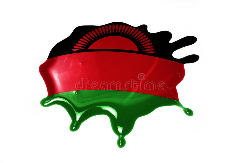 Blot with national flag of malawi. On the white background stock photo