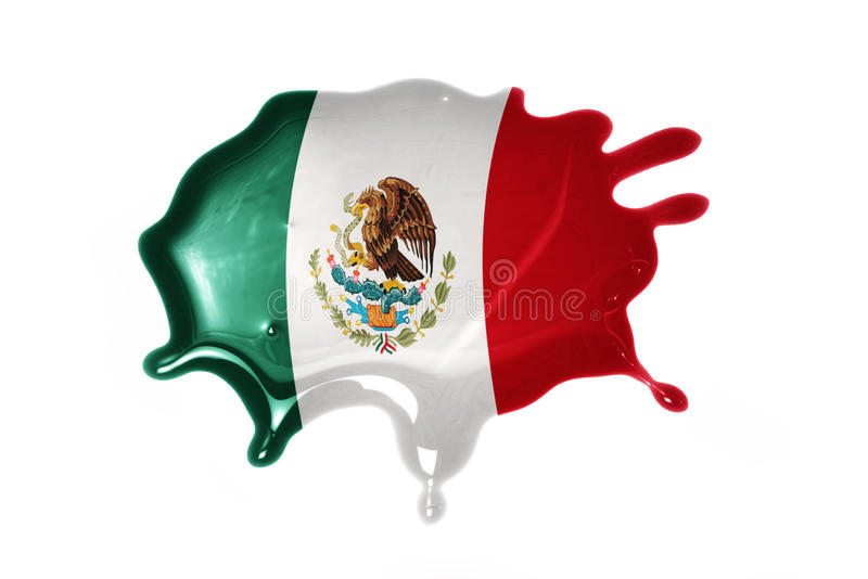 Blot with national flag of mexico. On the white background royalty free stock photos