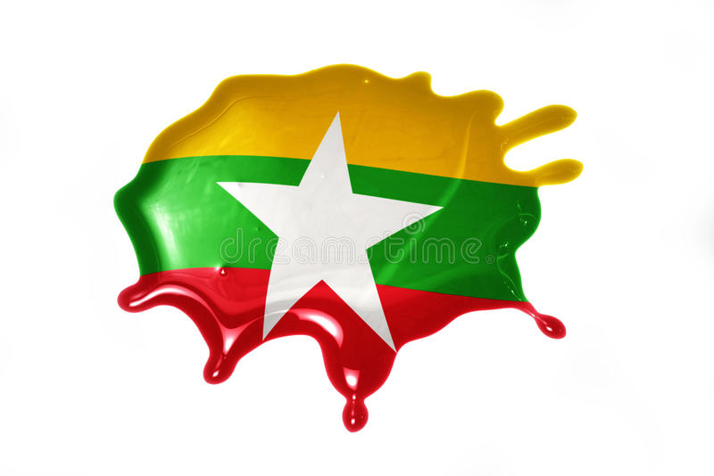 Blot with national flag of myanmar. On the white background royalty free stock image