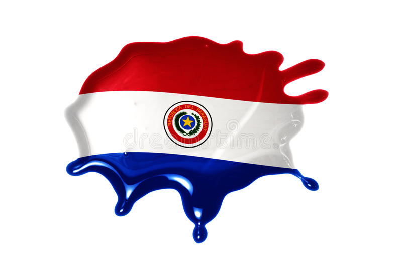 Blot with national flag of paraguay. On the white background royalty free stock image