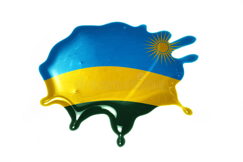 Blot with national flag of rwanda. On the white background royalty free stock image