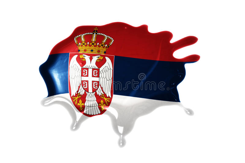 Blot with national flag of serbia. On the white background stock photography