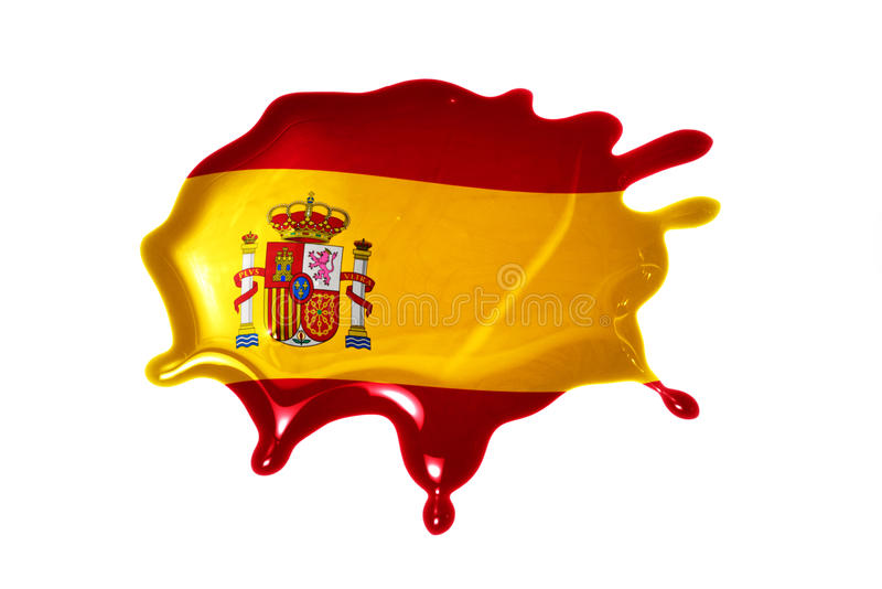 Blot with national flag of spain. On the white background stock photo