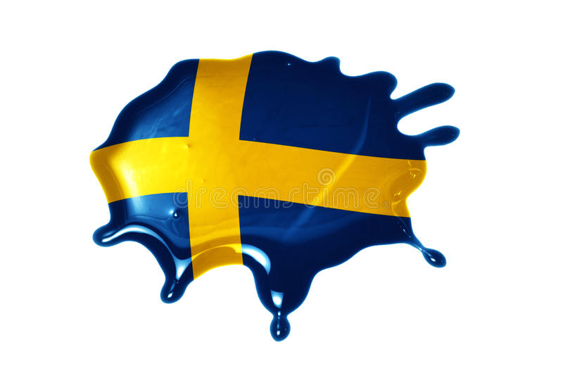 Blot with national flag of sweden. On the white background stock image