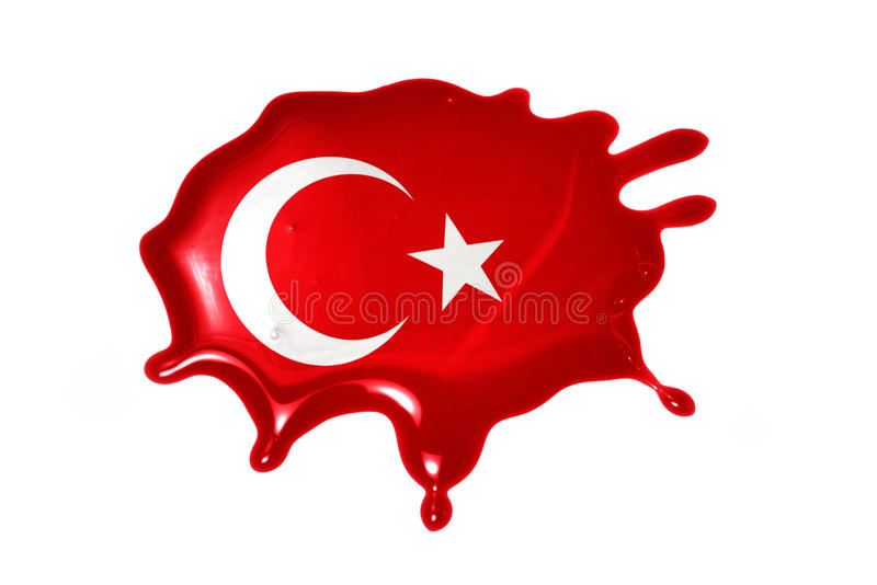 Blot with national flag of turkey. On the white background stock photos