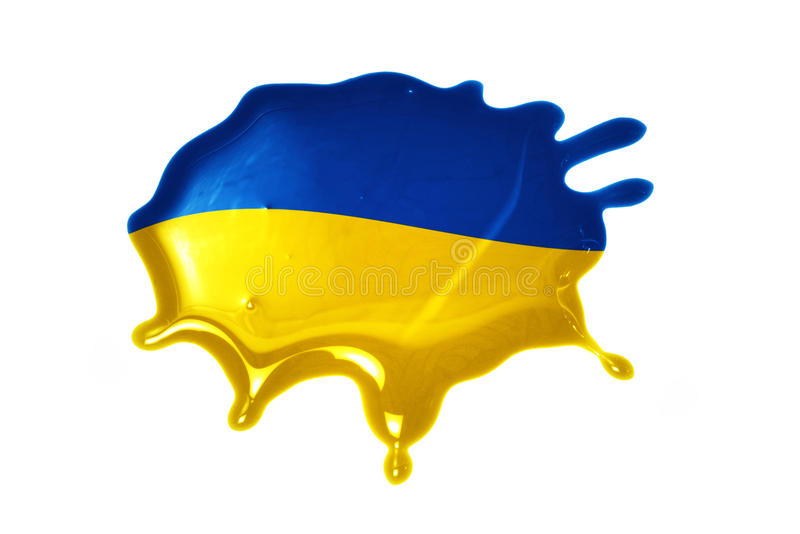 Blot with national flag of ukraine. On the white background royalty free stock image