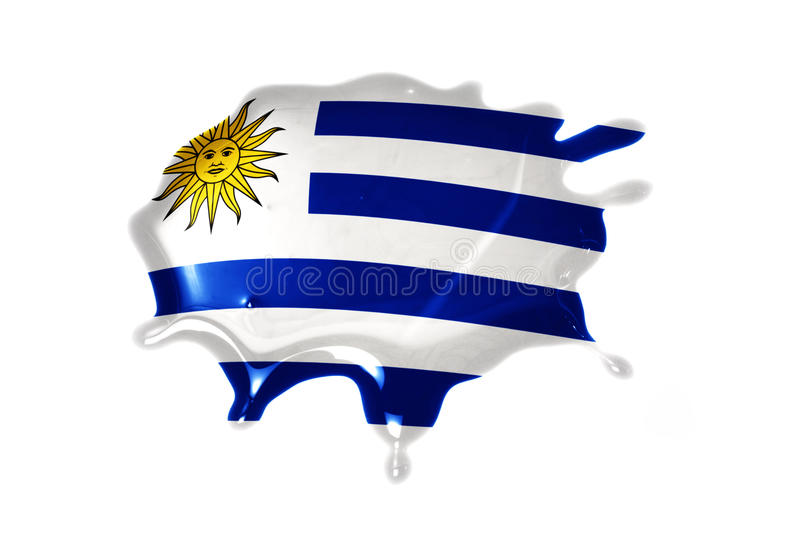 Blot with national flag of uruguay. On the white background stock photos