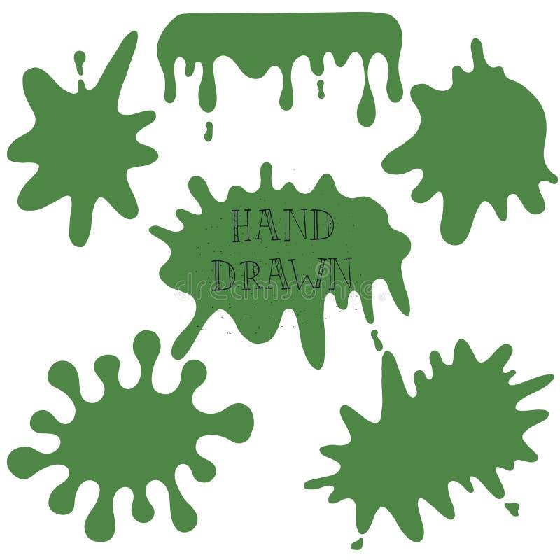 Blot vector. Vector ink hand drawn blot green royalty free illustration