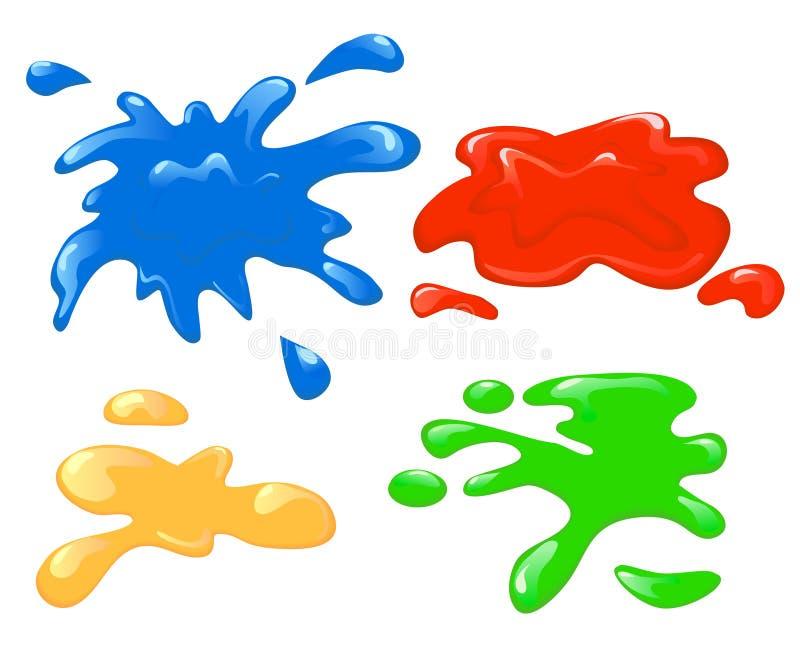 Blotches. Four abstract varicoloured paint blotches vector illustration