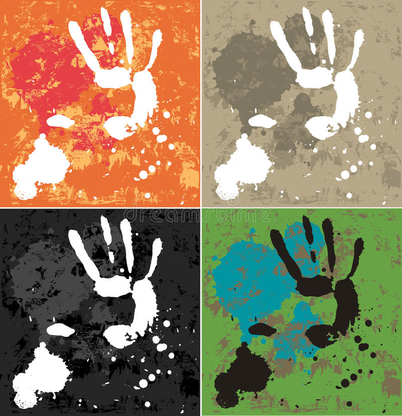 Blots and hand. Abstract composition. The set of blobs and hands prints, 4 color variation. All element is on the different layers vector illustration