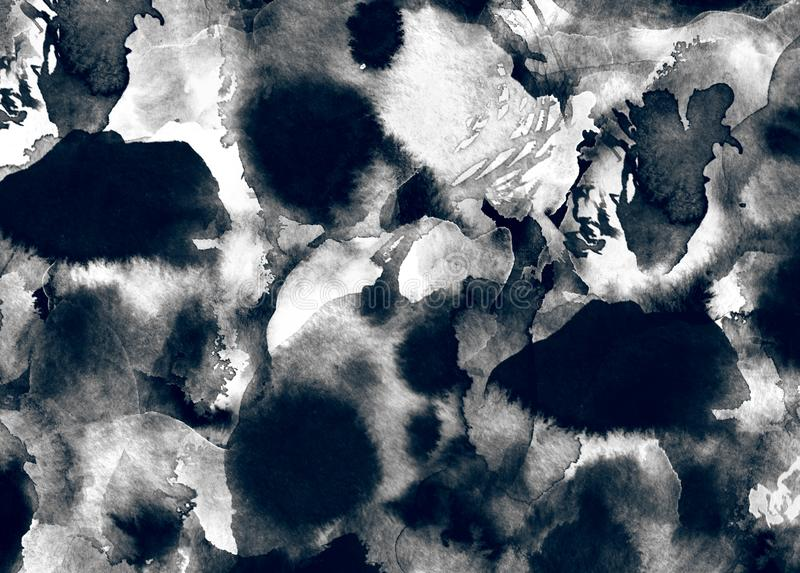 Blots and water spots abstract watercolor or ink painting on grunge paper texture. stock illustration