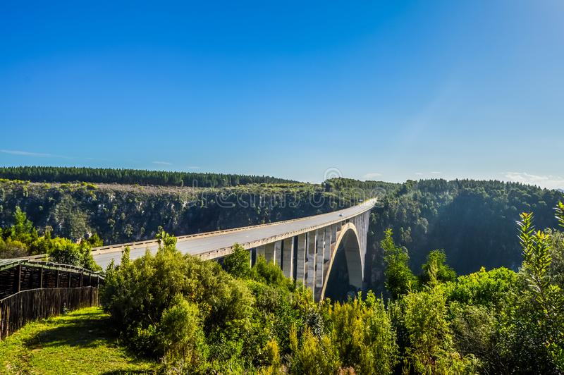 Bloukrans bunjee jumping bridge is an arch bridge located near N. Ature`s Valley and Knysna in Garden route in western cape Africa royalty free stock photography