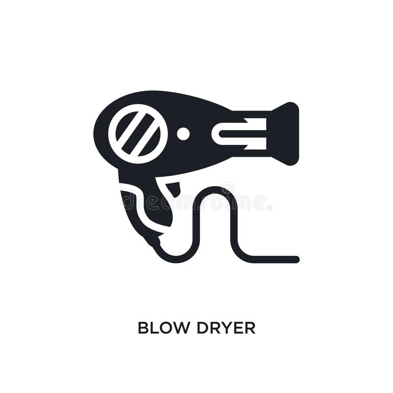 Blow dryer isolated icon. simple element illustration from electronic devices concept icons. blow dryer editable logo sign symbol. Design on white background stock illustration
