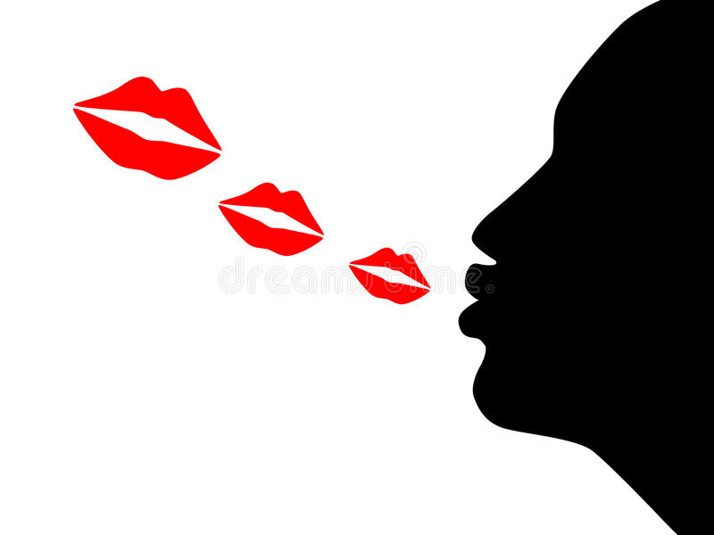 Blow kiss. Illustration of the silhouette woman blow kiss vector illustration