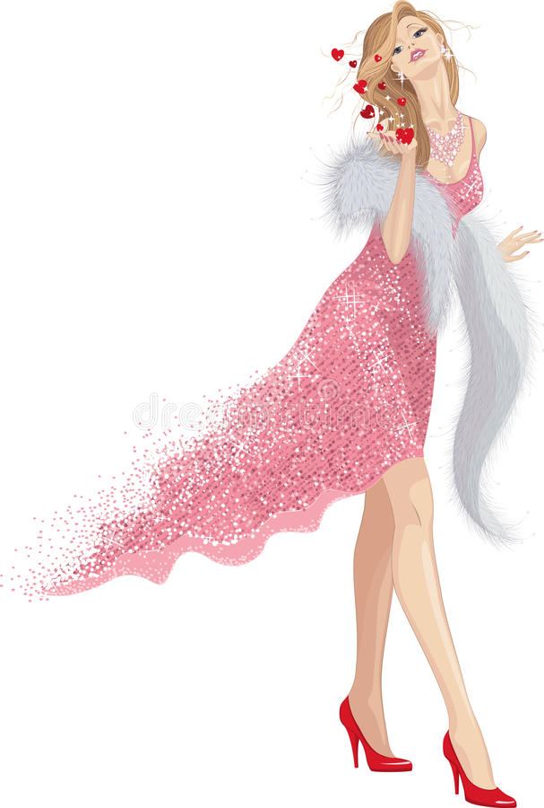 Blow kisses. Beautiful woman in shining pink dress and with fur-stole sending blow kisses. Isolated over white background. Vector illustration royalty free illustration