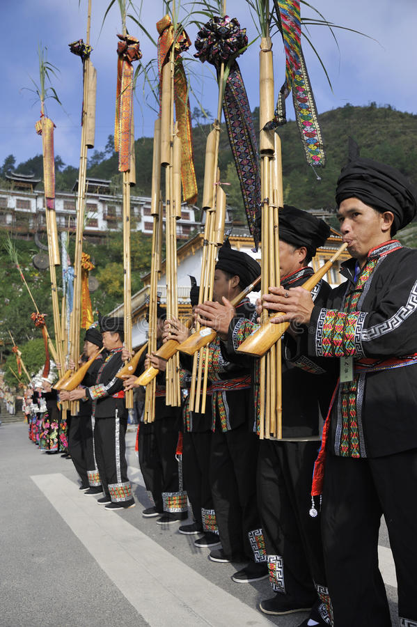 Blow Lusheng Miao Nationality Men Editorial Photo