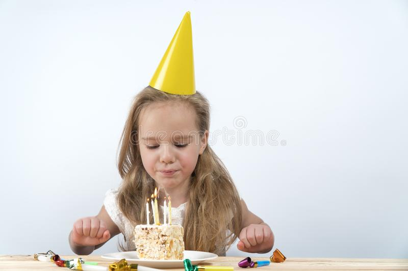 Blow out candles make a wish birthday child stock image
