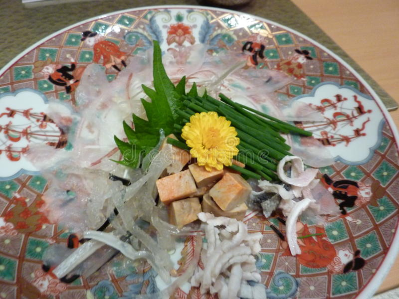 Blowfish de Fugu pour le dîner au Japon images libres de droits