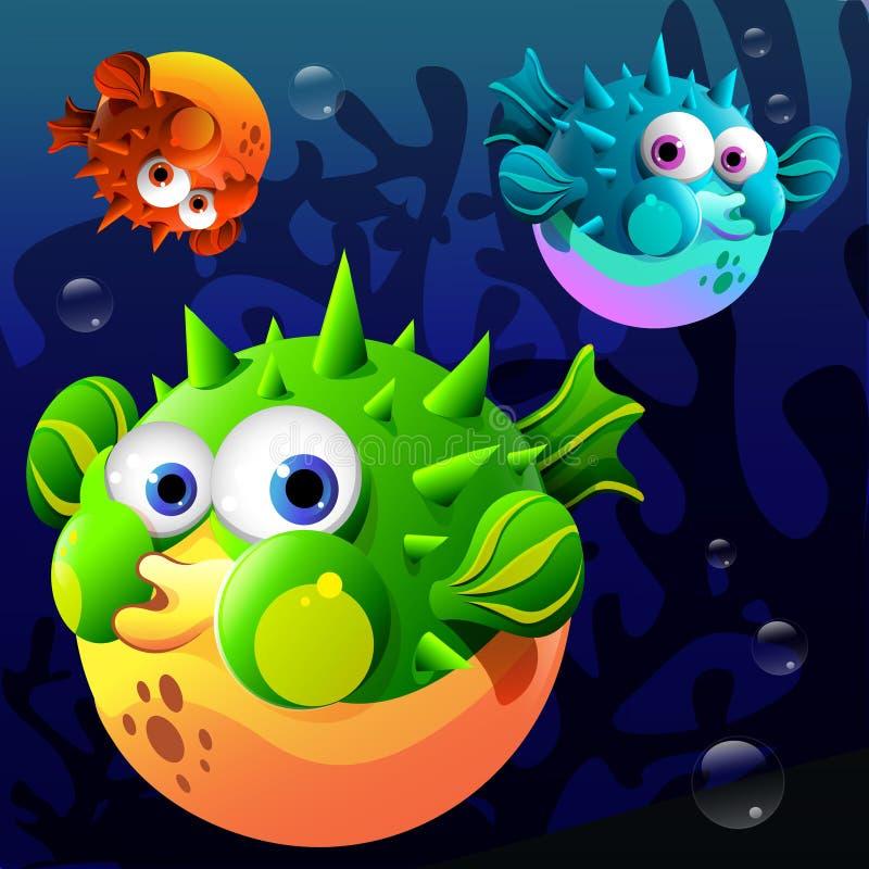 Blowfish dos desenhos animados ilustração do vetor