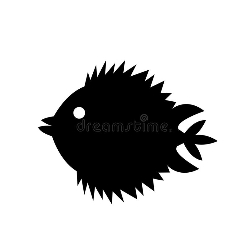 Blowfish icon vector sign and symbol isolated on white background, Blowfish logo concept stock illustration