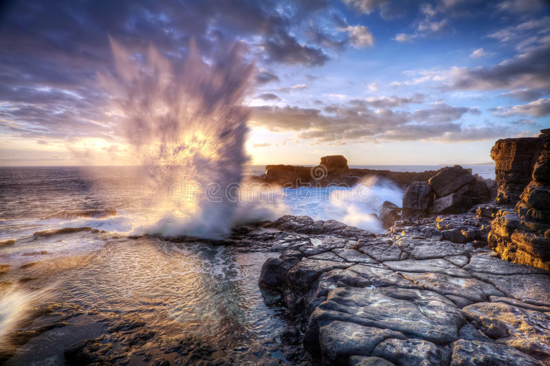 Blowhole on Reunion Island royalty free stock photos