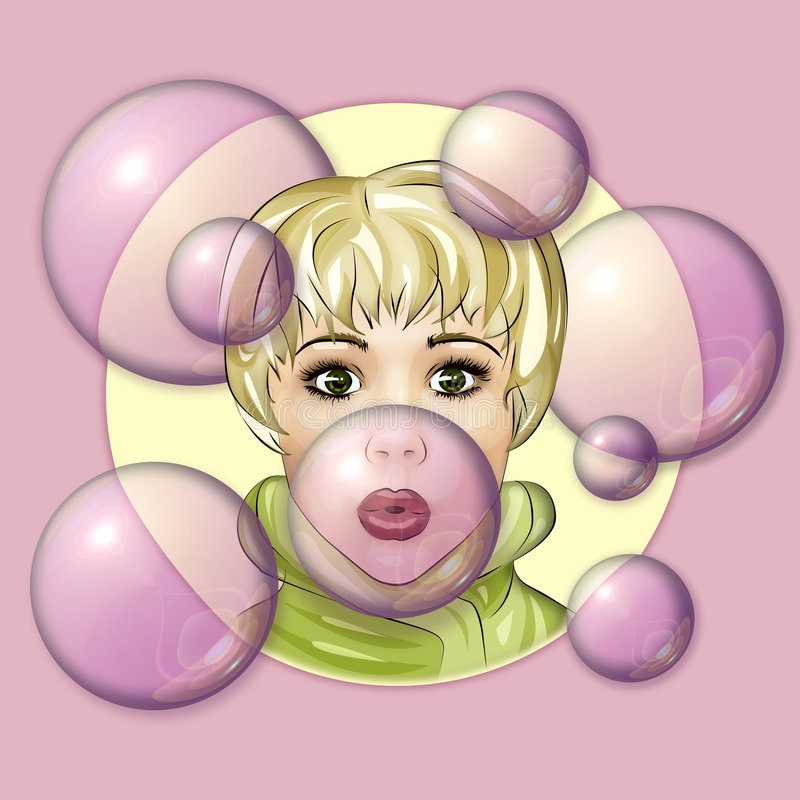 Blowing Bubbles stock illustration