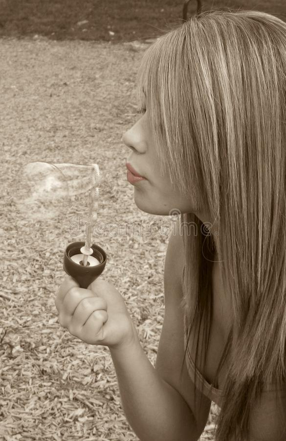 Download Blowing Bubbles stock image. Image of bubble, blonde, highlights - 5232965