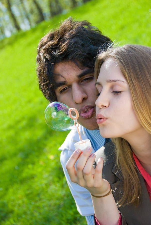Download Blowing bubbles stock image. Image of flirting, girl, heterosexual - 5340647